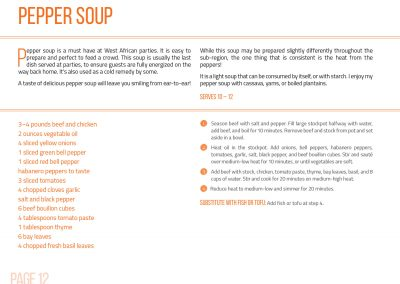 Cookbook page with recipe